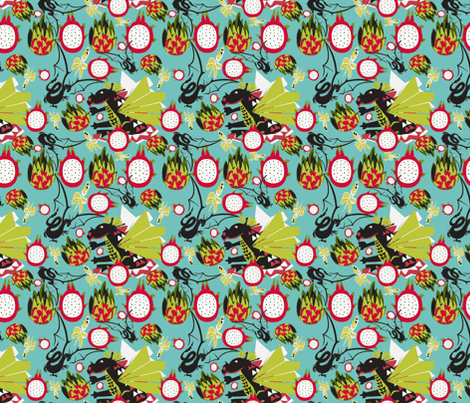 Dragon fruit ,dragonflies and dragons white  fabric by lorloves_design on Spoonflower - custom fabric