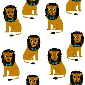 lion safari animal fabric print white