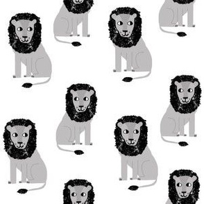 lion safari animal fabric print white grey
