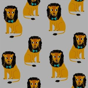 lion safari animal fabric print grey