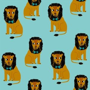 lion safari animal fabric print teal