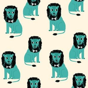 lion safari animal fabric print blue