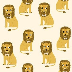 lion safari animal fabric print yellow