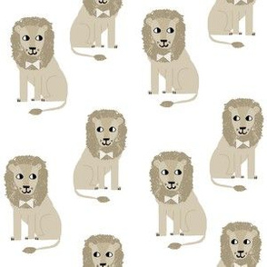 lion safari animal fabric print tan