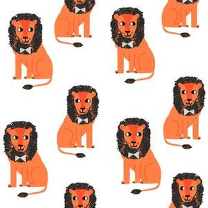 lion safari animal fabric print orange