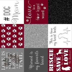 dog mom blanket_maroon