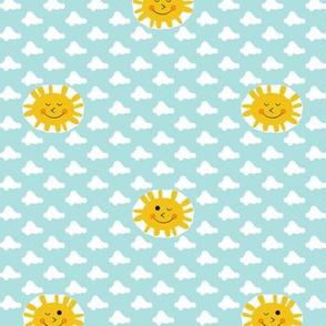 Good Morning, Sunshine!* (Polymer) || sun clouds winking kawaii retro atomic midcentury modern sky pastel baby nursery kids smiling