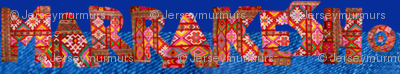 """colorful rug letters spell """"Marrakesh"""""""