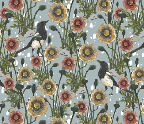 Aye Aye Magpie! fabric by here_comes_kelly on Spoonflower - custom fabric
