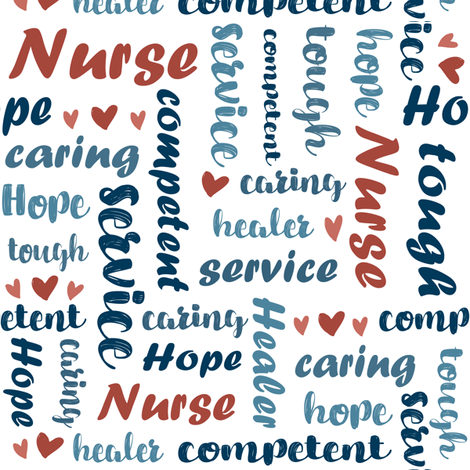 Qualities of a Nurse Typography fabric by jennifer_todd on Spoonflower - custom fabric