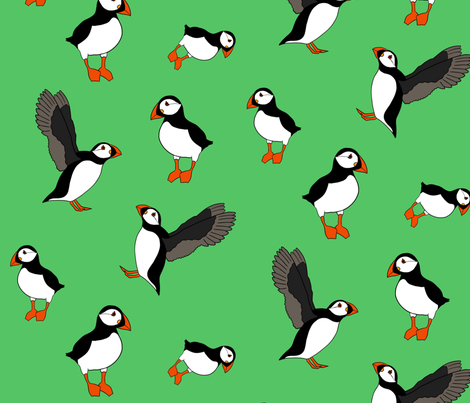 Green Puffins fabric by dreams_and_whimsy on Spoonflower - custom fabric