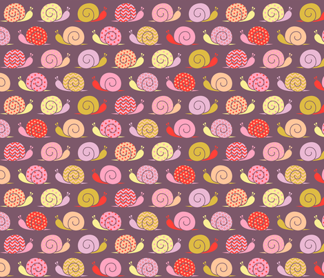 snails on parade - pink - bigger fabric by cheyanne_sammons on Spoonflower - custom fabric