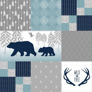 Bears Deer Antlers Wholecloth – Wild and Free Cheater Quilt – Navy Gray Blue Design