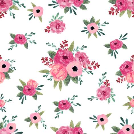 penelope floral  - floral, florals, feminine, nursery, baby, girls, elegant flower - white fabric by patterngirl on Spoonflower - custom fabric