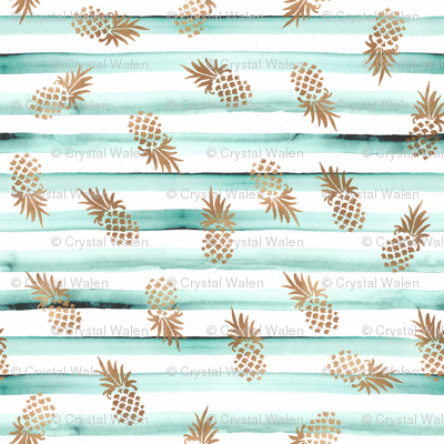 Rose Gold Pineapples-Mint Stripe