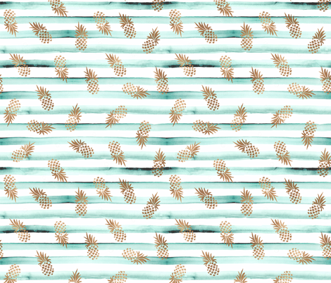 Rose Gold Pineapples-Mint Stripe fabric by crystal_walen on Spoonflower - custom fabric