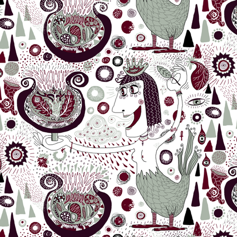 the bird lady cometh, large scale fabric by amy_g on Spoonflower - custom fabric
