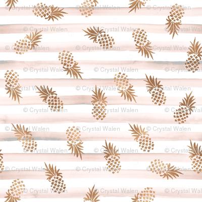 Rose Gold Pineapples-Blush Stripe