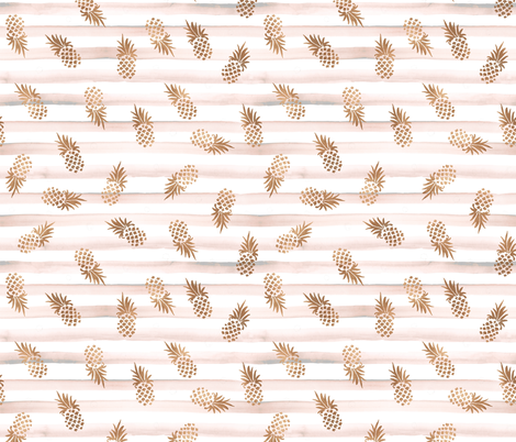 Rose Gold Pineapples-Blush Stripe fabric by crystal_walen on Spoonflower - custom fabric