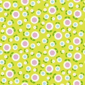 Gingham Flowers* (Mini Lime) || daisy flower 70s retro 1970s groovy vintage leaves floral mod chartreuse