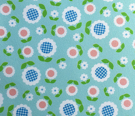 Gingham Flowers* (Mini Polymer) || daisy flower 70s retro 1970s groovy vintage leaves floral mod pastel turquoise mint
