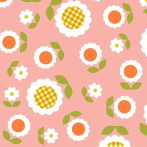 Gingham Flowers* (Maxi Mona) || daisy flower 70s retro 1970s groovy vintage leaves floral mod coral