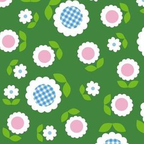 Gingham Flowers* (Maxi Dollar Bill) || daisy flower 70s retro 1970s groovy vintage leaves floral mod green
