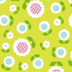 Gingham Flowers* (Maxi Lime) || daisy flower 70s retro 1970s groovy vintage leaves floral mod chartreuse