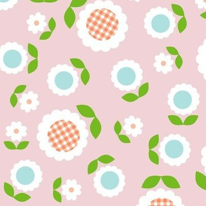 Gingham Flowers* (Maxi Capote) || daisy flower 70s retro 1970s groovy vintage leaves floral mod pastel pink
