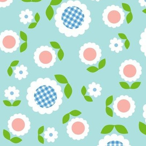 Gingham Flowers* (Maxi Polymer) || daisy flower 70s retro 1970s groovy vintage leaves floral mod pastel turquoise mint