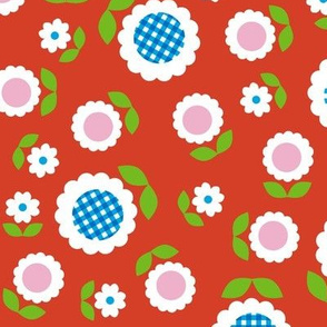 Gingham Flowers* (Maxi Tomato Soup) || daisy flower 70s retro 1970s groovy vintage leaves floral mod red