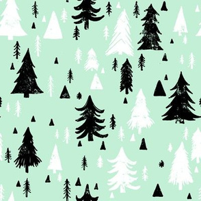Mint, Black and White Pine Trees