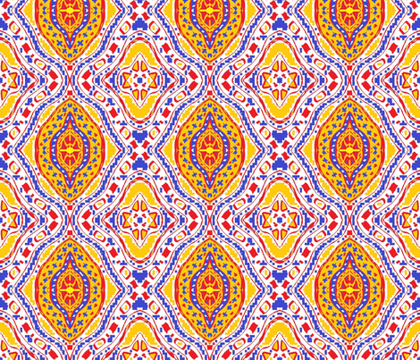 Travel Bug 1 Red Yellow Blue & White fabric by tabasamu_design on Spoonflower - custom fabric