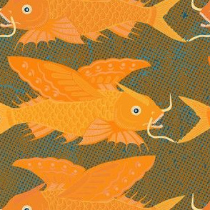 flying fish orange on textured background