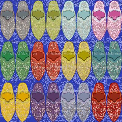 Babouche Slippers cobalt mix