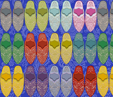 Babouche Slippers cobalt mix fabric by stitchyrichie on Spoonflower - custom fabric