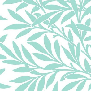 Willow ~ Mint on White ~ William Morris