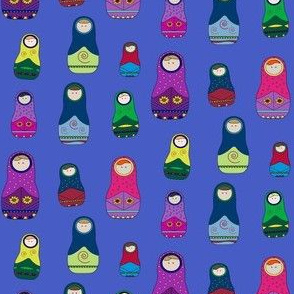Nesting Dolls With Blue Background