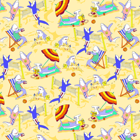 Custom Sharks on the Beach fabric by eclectic_house on Spoonflower - custom fabric