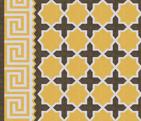 Dhurrie: Yellow, Brown, Gray fabric by kimberly_guccione on Spoonflower - custom fabric