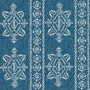 reeve repeat teal blue  linen
