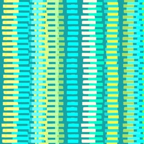 Boardwalk Stripes Turquoise Lime on Teal 300