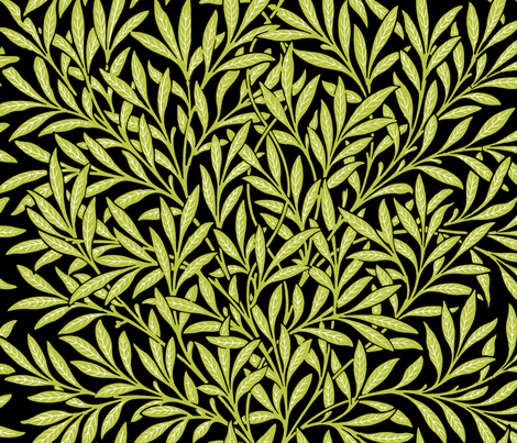 Willow ~ Black and White and Usurper III  ~ William Morris   fabric by peacoquettedesigns on Spoonflower - custom fabric