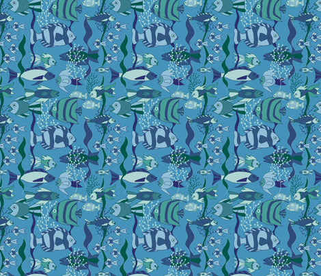 reef-rush-hour-ocean-blues-sf fabric by margiecampbellsamuels on Spoonflower - custom fabric