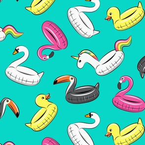 pool floats - all the floats on teal