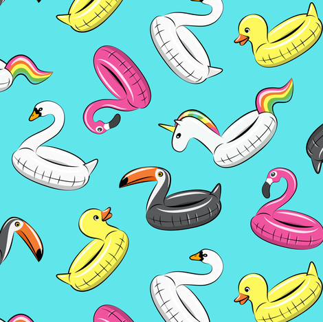 pool floats - all the floats on blue fabric by littlearrowdesign on Spoonflower - custom fabric
