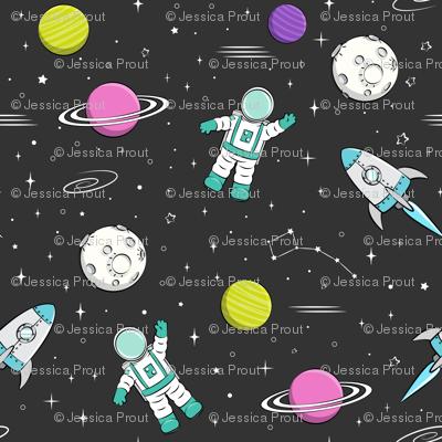 space print - dark grey with pink planet STEM