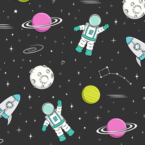 space print - dark grey with pink planet STEM  fabric by littlearrowdesign on Spoonflower - custom fabric