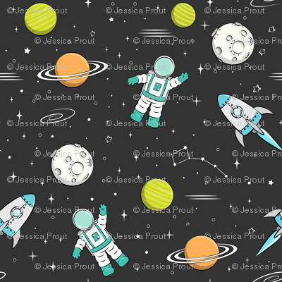 space print - dark grey (green planets)