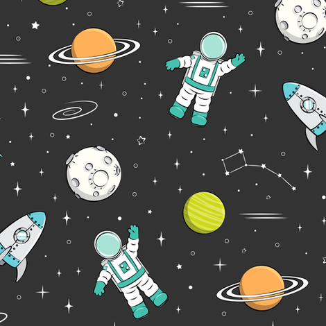 space print - dark grey (green planets) fabric by littlearrowdesign on Spoonflower - custom fabric